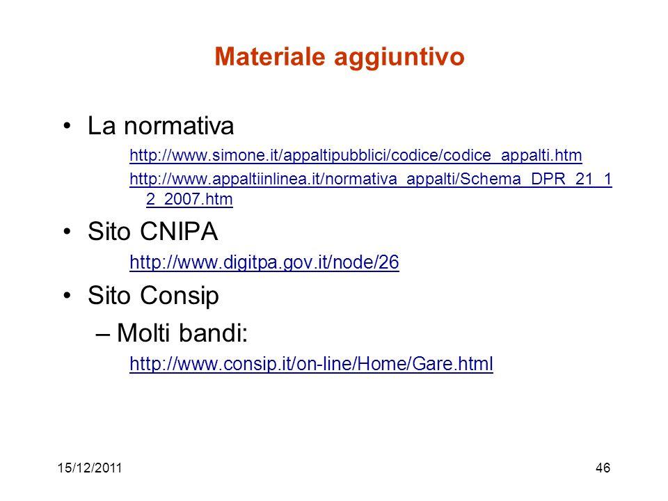 15/12/201146 Materiale aggiuntivo La normativa http://www.simone.it/appaltipubblici/codice/codice_appalti.htm http://www.appaltiinlinea.it/normativa_a