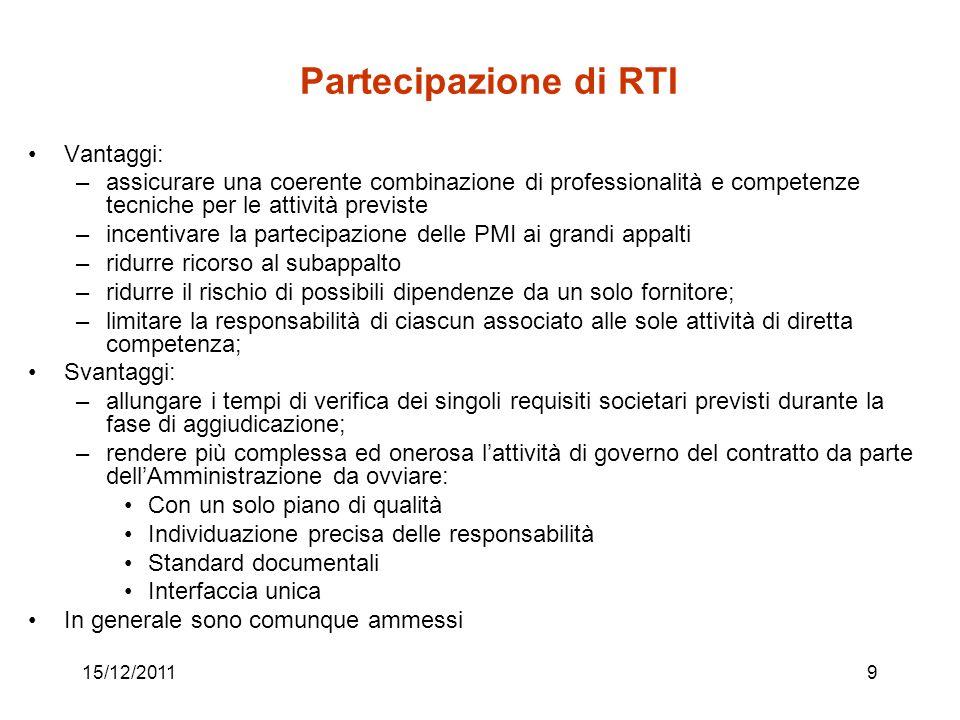 15/12/20119 Partecipazione di RTI Vantaggi: –assicurare una coerente combinazione di professionalità e competenze tecniche per le attività previste –i