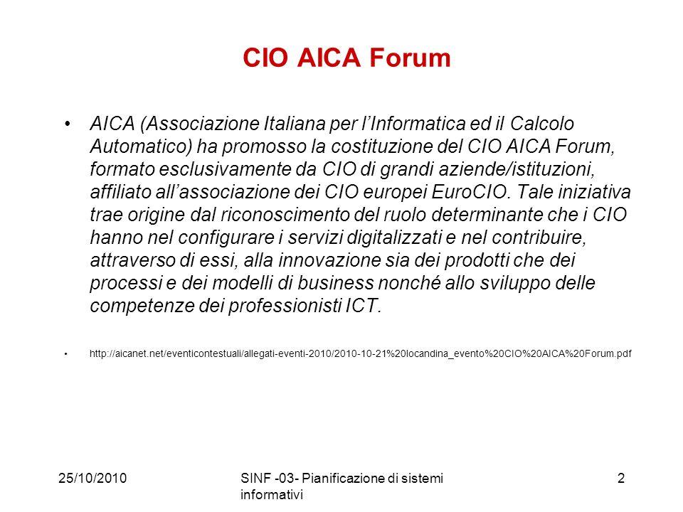 CIO AICA Forum AICA (Associazione Italiana per lInformatica ed il Calcolo Automatico) ha promosso la costituzione del CIO AICA Forum, formato esclusivamente da CIO di grandi aziende/istituzioni, affiliato allassociazione dei CIO europei EuroCIO.