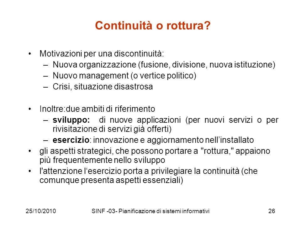 25/10/2010SINF -03- Pianificazione di sistemi informativi26 Continuità o rottura.