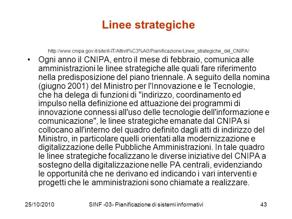 25/10/2010SINF -03- Pianificazione di sistemi informativi43 Linee strategiche http://www.cnipa.gov.it/site/it-IT/Attivit%C3%A0/Pianificazione/Linee_strategiche_del_CNIPA/ Ogni anno il CNIPA, entro il mese di febbraio, comunica alle amministrazioni le linee strategiche alle quali fare riferimento nella predisposizione del piano triennale.