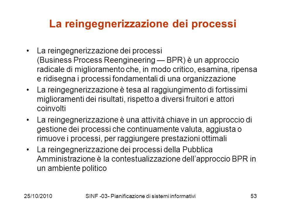 25/10/2010SINF -03- Pianificazione di sistemi informativi53 La reingegnerizzazione dei processi La reingegnerizzazione dei processi (Business Process Reengineering BPR) è un approccio radicale di miglioramento che, in modo critico, esamina, ripensa e ridisegna i processi fondamentali di una organizzazione La reingegnerizzazione è tesa al raggiungimento di fortissimi miglioramenti dei risultati, rispetto a diversi fruitori e attori coinvolti La reingegnerizzazione è una attività chiave in un approccio di gestione dei processi che continuamente valuta, aggiusta o rimuove i processi, per raggiungere prestazioni ottimali La reingegnerizzazione dei processi della Pubblica Amministrazione è la contestualizzazione dellapproccio BPR in un ambiente politico