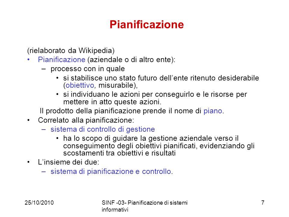 25/10/2010SINF -03- Pianificazione di sistemi informativi38 Verifica Monitoraggio e misurazione di qualità Valutazione dei risultati Consuntivazione STUDY