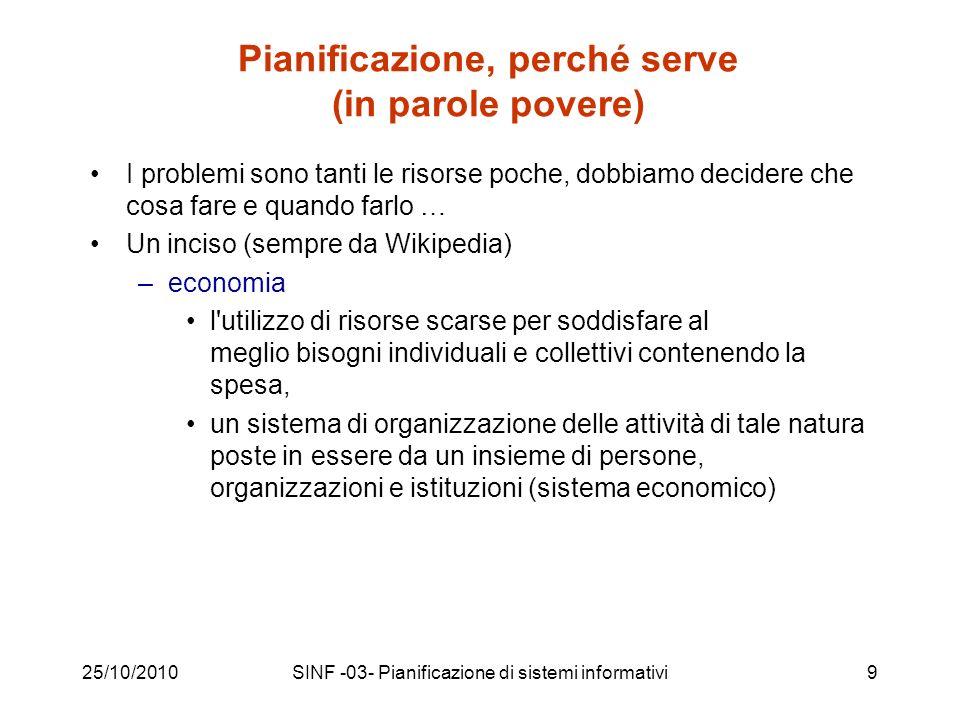 25/10/2010SINF -03- Pianificazione di sistemi informativi30 La metodologia di pianificazione proposta dallAIPA ai sensi del D.