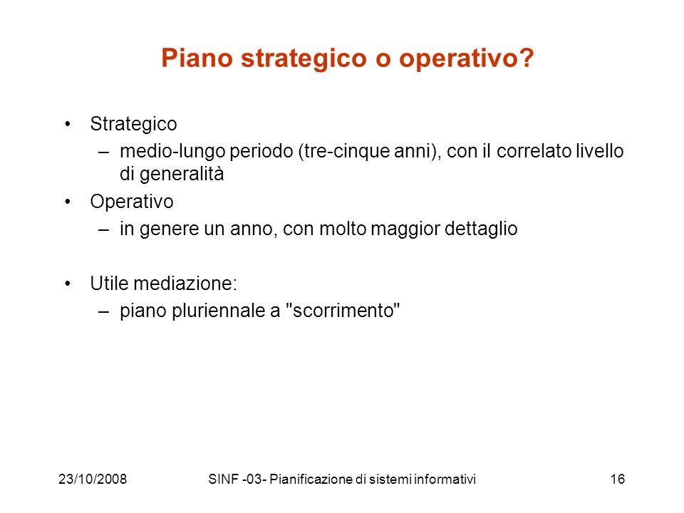 23/10/2008SINF -03- Pianificazione di sistemi informativi16 Piano strategico o operativo.