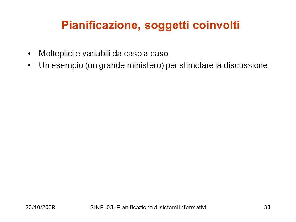 23/10/2008SINF -03- Pianificazione di sistemi informativi33 Pianificazione, soggetti coinvolti Molteplici e variabili da caso a caso Un esempio (un grande ministero) per stimolare la discussione