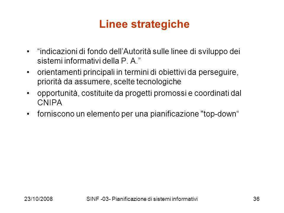 23/10/2008SINF -03- Pianificazione di sistemi informativi36 Linee strategiche indicazioni di fondo dellAutorità sulle linee di sviluppo dei sistemi informativi della P.