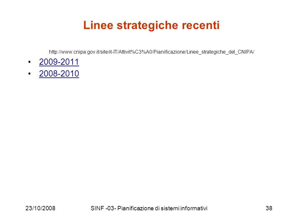 23/10/2008SINF -03- Pianificazione di sistemi informativi38 Linee strategiche recenti http://www.cnipa.gov.it/site/it-IT/Attivit%C3%A0/Pianificazione/Linee_strategiche_del_CNIPA/ 2009-2011 2008-2010