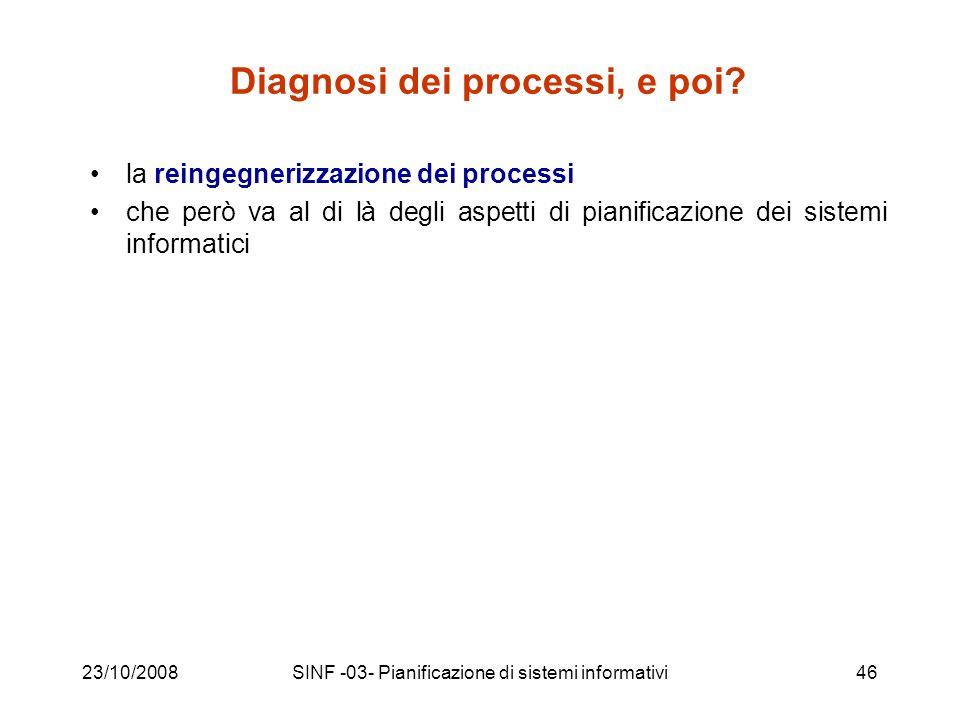 23/10/2008SINF -03- Pianificazione di sistemi informativi46 Diagnosi dei processi, e poi.