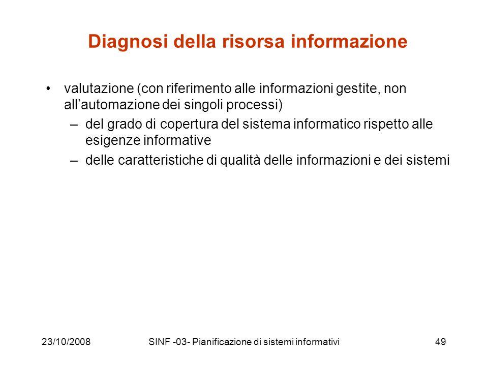 23/10/2008SINF -03- Pianificazione di sistemi informativi49 Diagnosi della risorsa informazione valutazione (con riferimento alle informazioni gestite, non allautomazione dei singoli processi) –del grado di copertura del sistema informatico rispetto alle esigenze informative –delle caratteristiche di qualità delle informazioni e dei sistemi
