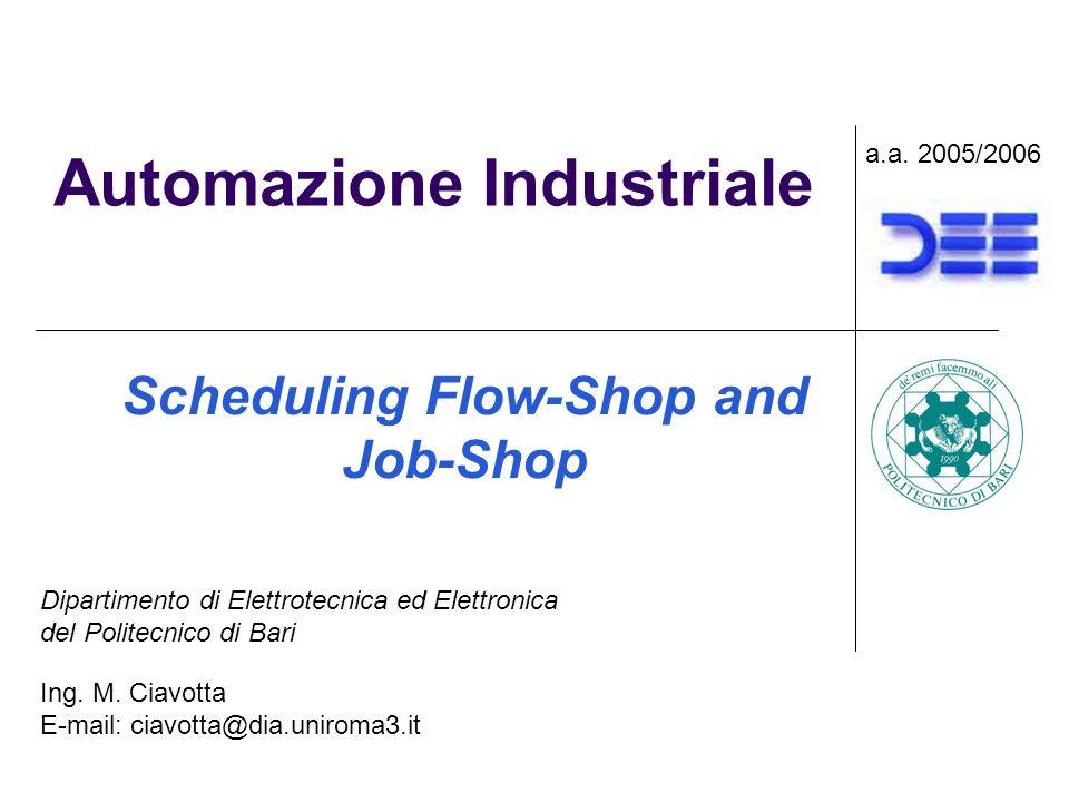 Automazione Industriale Scheduling Flow-Shop and Job-Shop a.a.
