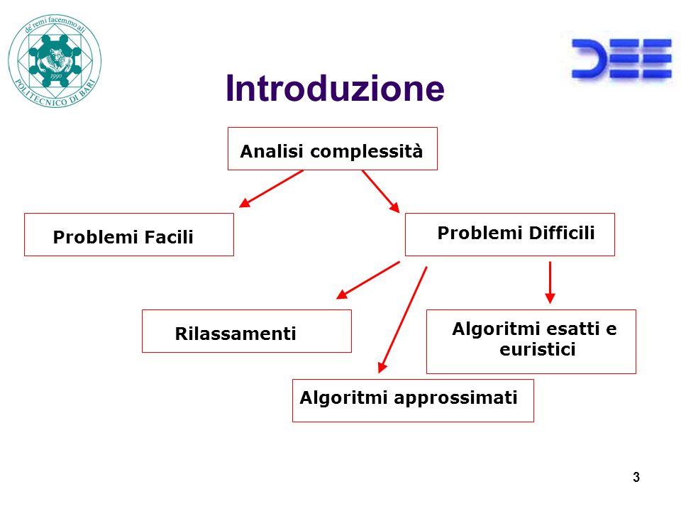 3 Introduzione Analisi complessità Problemi Facili Problemi Difficili Rilassamenti Algoritmi esatti e euristici Algoritmi approssimati