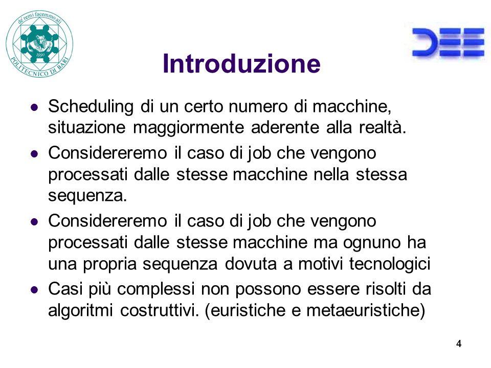 4 Introduzione Scheduling di un certo numero di macchine, situazione maggiormente aderente alla realtà.
