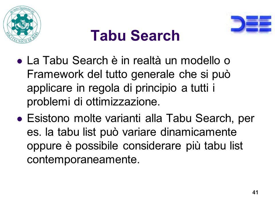 41 Tabu Search La Tabu Search è in realtà un modello o Framework del tutto generale che si può applicare in regola di principio a tutti i problemi di ottimizzazione.