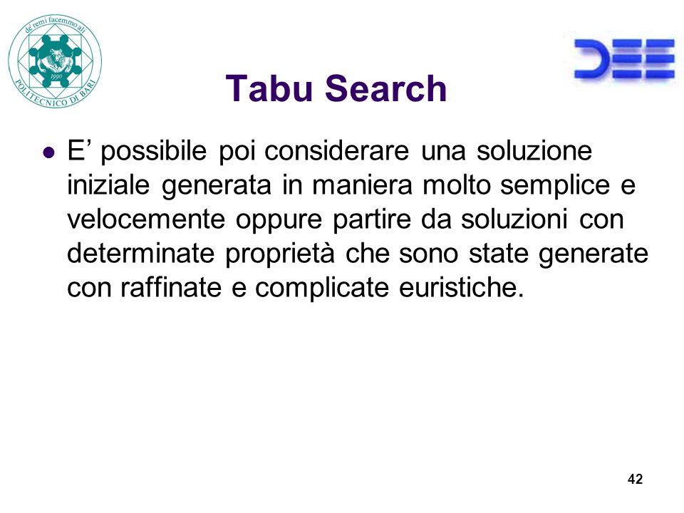 42 Tabu Search E possibile poi considerare una soluzione iniziale generata in maniera molto semplice e velocemente oppure partire da soluzioni con determinate proprietà che sono state generate con raffinate e complicate euristiche.