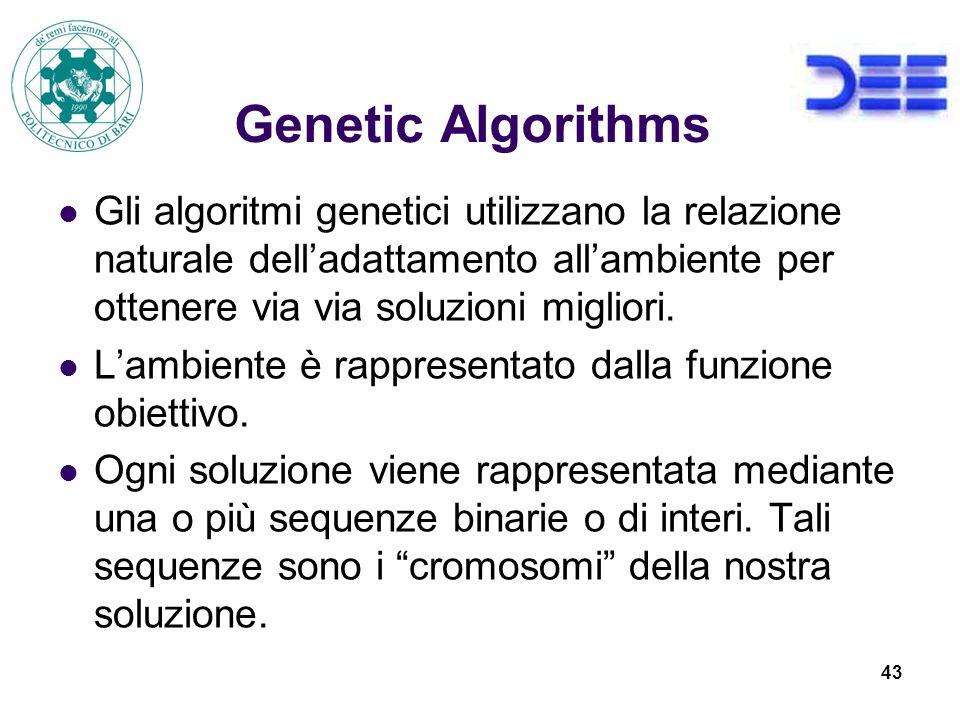 43 Genetic Algorithms Gli algoritmi genetici utilizzano la relazione naturale delladattamento allambiente per ottenere via via soluzioni migliori.