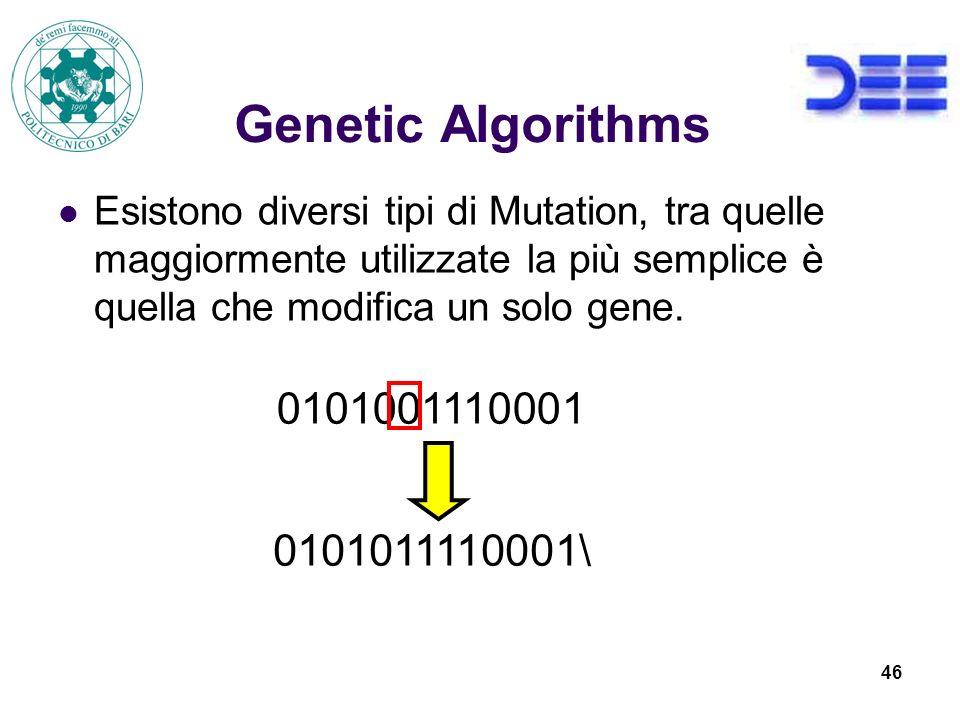 46 Genetic Algorithms Esistono diversi tipi di Mutation, tra quelle maggiormente utilizzate la più semplice è quella che modifica un solo gene.