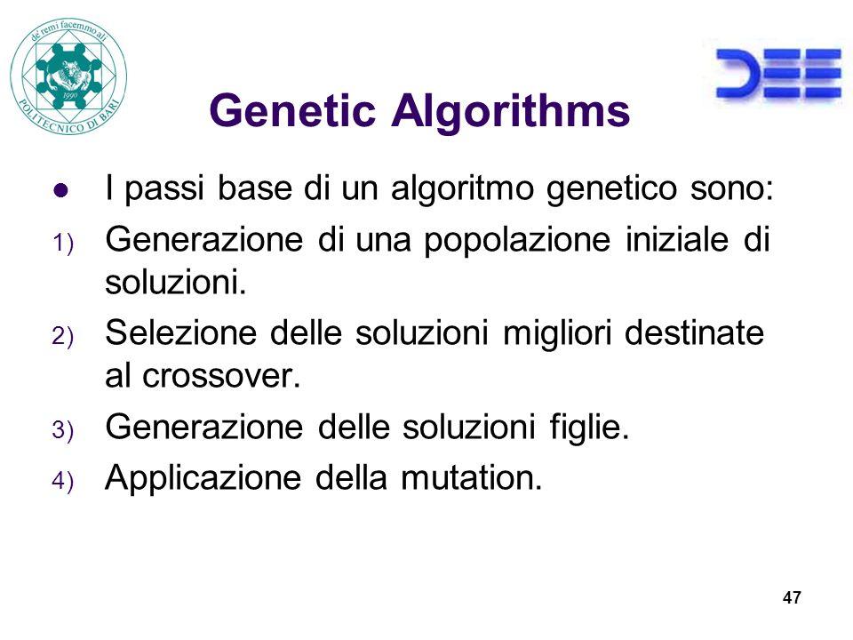 47 Genetic Algorithms I passi base di un algoritmo genetico sono: 1) Generazione di una popolazione iniziale di soluzioni.