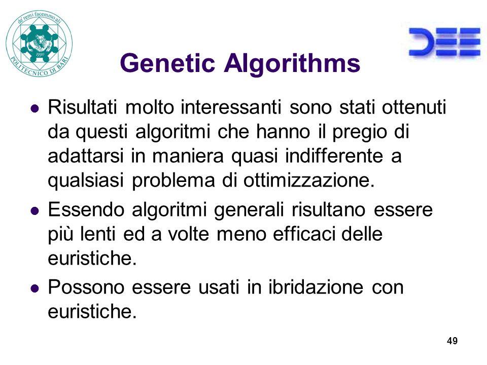 49 Genetic Algorithms Risultati molto interessanti sono stati ottenuti da questi algoritmi che hanno il pregio di adattarsi in maniera quasi indifferente a qualsiasi problema di ottimizzazione.