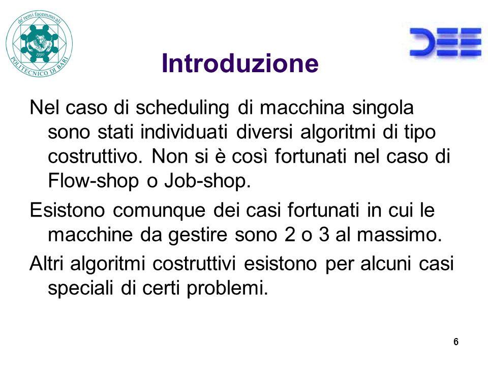 27 Grafo disgiuntivo Strumento di rappresentazione delle soluzioni per il job-shop o flow-shop.