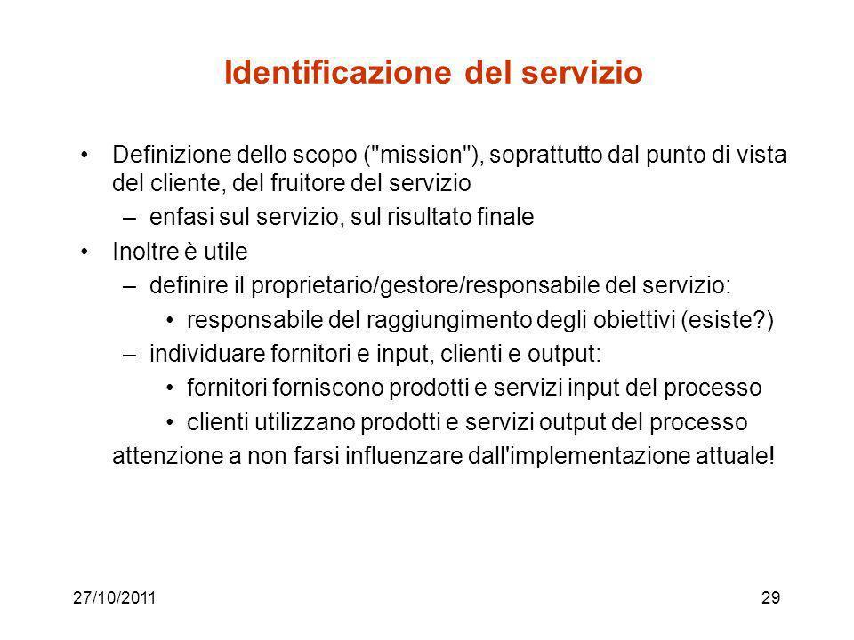 27/10/201128 Una semplice metodologia (seguita anche nello studio di caso già visto: SINF-05-BPR-StudioDiCaso.pdf) Identificazione del servizio Defini