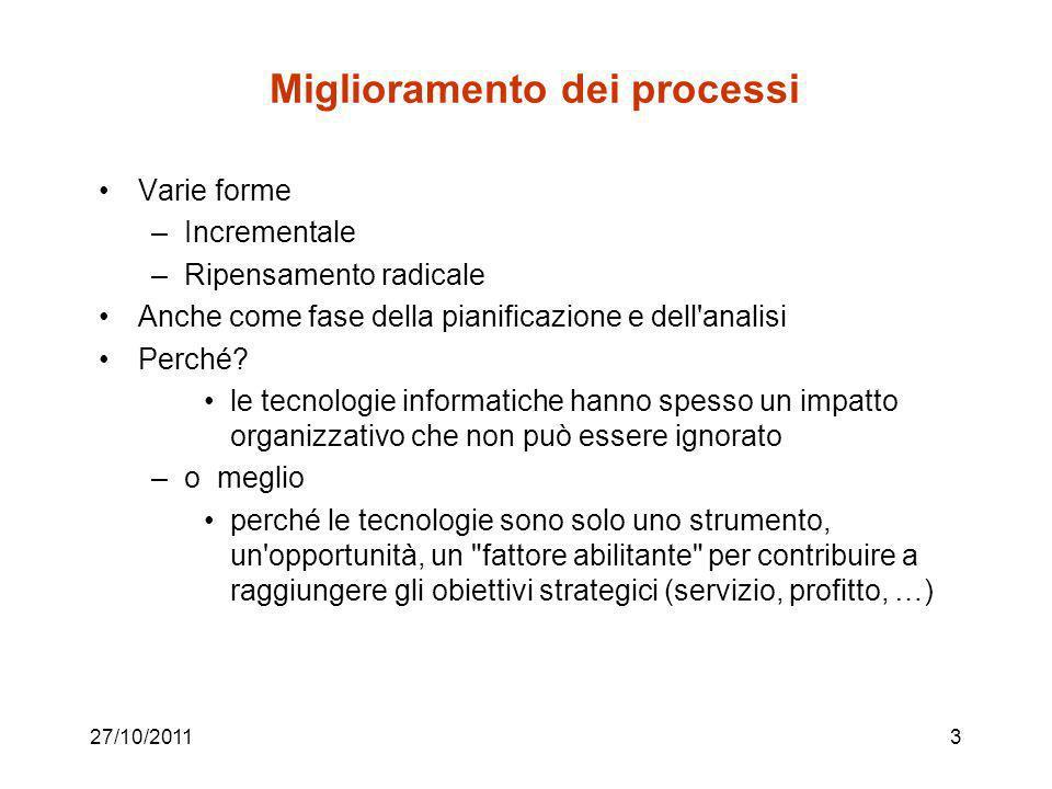 27/10/20113 Miglioramento dei processi Varie forme –Incrementale –Ripensamento radicale Anche come fase della pianificazione e dell analisi Perché.