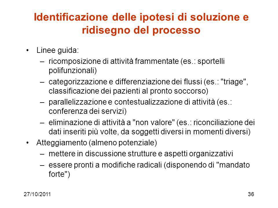 27/10/201135 Identificazione criticità / cause … … che non consentono la soddisfazione dei requisiti qualitativi e degli obiettivi di performance