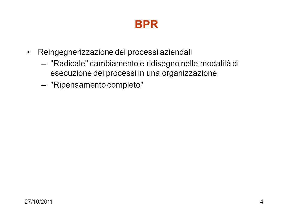 27/10/20114 BPR Reingegnerizzazione dei processi aziendali – Radicale cambiamento e ridisegno nelle modalità di esecuzione dei processi in una organizzazione – Ripensamento completo