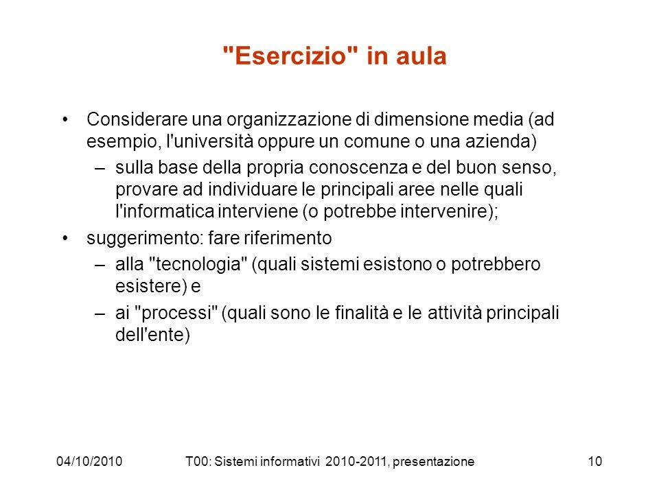 04/10/2010T00: Sistemi informativi 2010-2011, presentazione10
