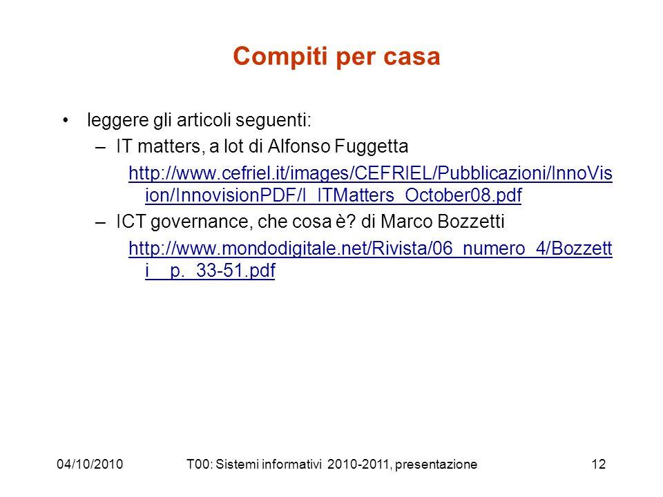 Compiti per casa leggere gli articoli seguenti: –IT matters, a lot di Alfonso Fuggetta http://www.cefriel.it/images/CEFRIEL/Pubblicazioni/InnoVis ion/