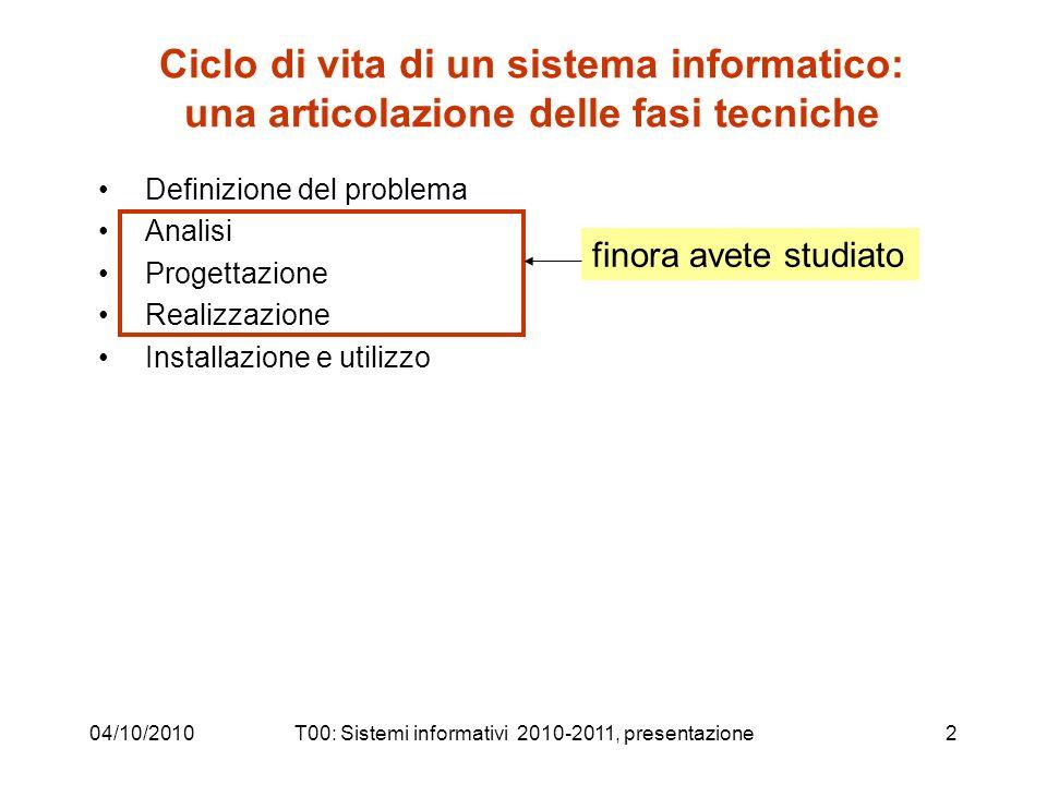 04/10/2010T00: Sistemi informativi 2010-2011, presentazione2 Ciclo di vita di un sistema informatico: una articolazione delle fasi tecniche Definizion