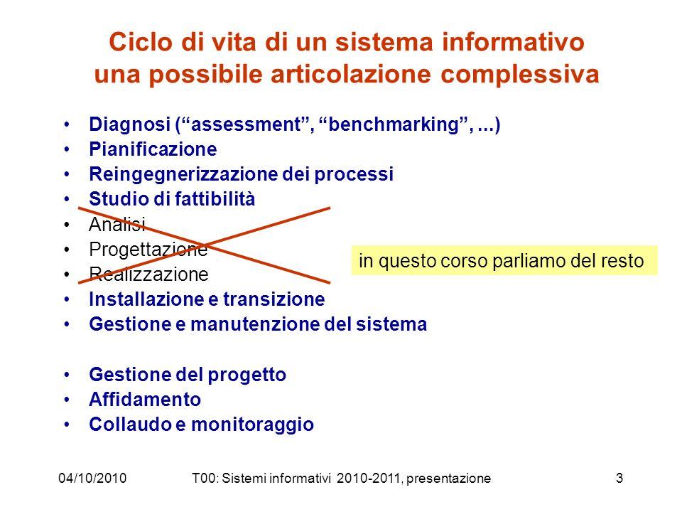 04/10/2010T00: Sistemi informativi 2010-2011, presentazione3 Ciclo di vita di un sistema informativo una possibile articolazione complessiva Diagnosi