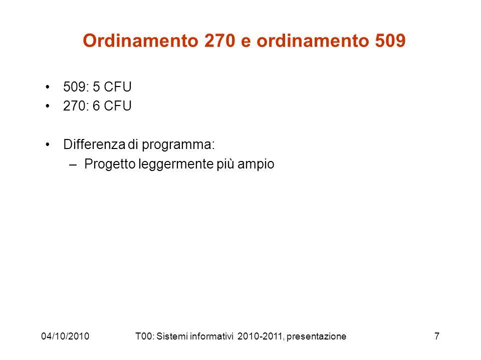 Ordinamento 270 e ordinamento 509 509: 5 CFU 270: 6 CFU Differenza di programma: –Progetto leggermente più ampio 04/10/2010T00: Sistemi informativi 2010-2011, presentazione7