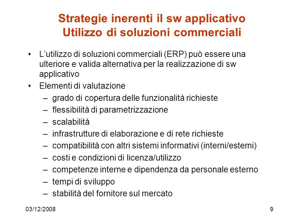 03/12/200810 Strategie inerenti il sw applicativo progetto vs.