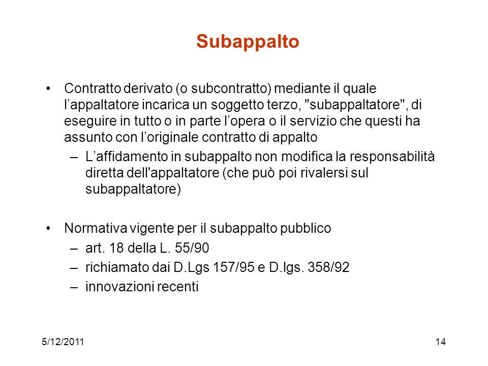 5/12/201114 Subappalto Contratto derivato (o subcontratto) mediante il quale lappaltatore incarica un soggetto terzo,