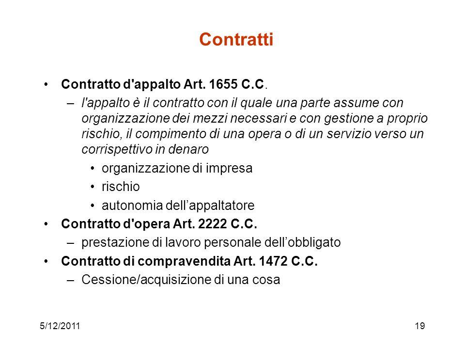 5/12/201119 Contratti Contratto d'appalto Art. 1655 C.C. –l'appalto è il contratto con il quale una parte assume con organizzazione dei mezzi necessar