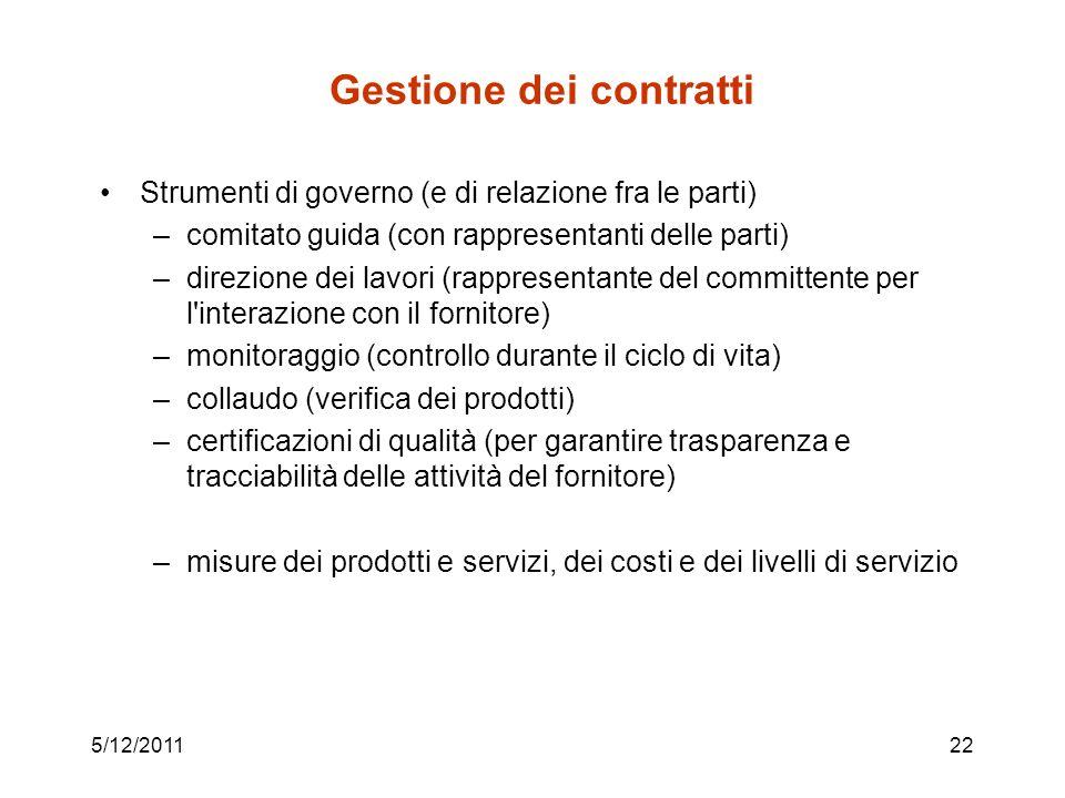 5/12/201122 Gestione dei contratti Strumenti di governo (e di relazione fra le parti) –comitato guida (con rappresentanti delle parti) –direzione dei