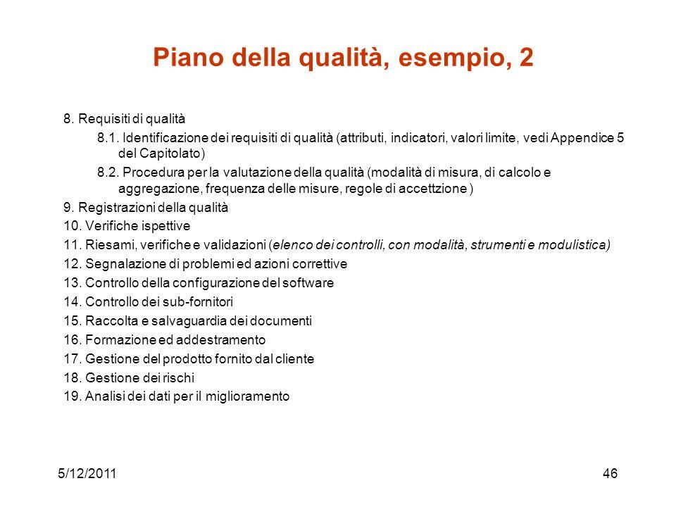 Piano della qualità, esempio, 2 8.Requisiti di qualità 8.1.