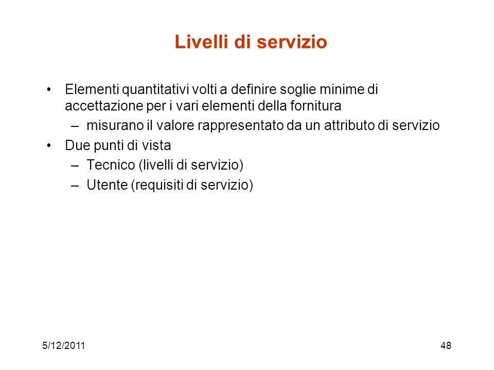 5/12/201148 Livelli di servizio Elementi quantitativi volti a definire soglie minime di accettazione per i vari elementi della fornitura –misurano il valore rappresentato da un attributo di servizio Due punti di vista –Tecnico (livelli di servizio) –Utente (requisiti di servizio)