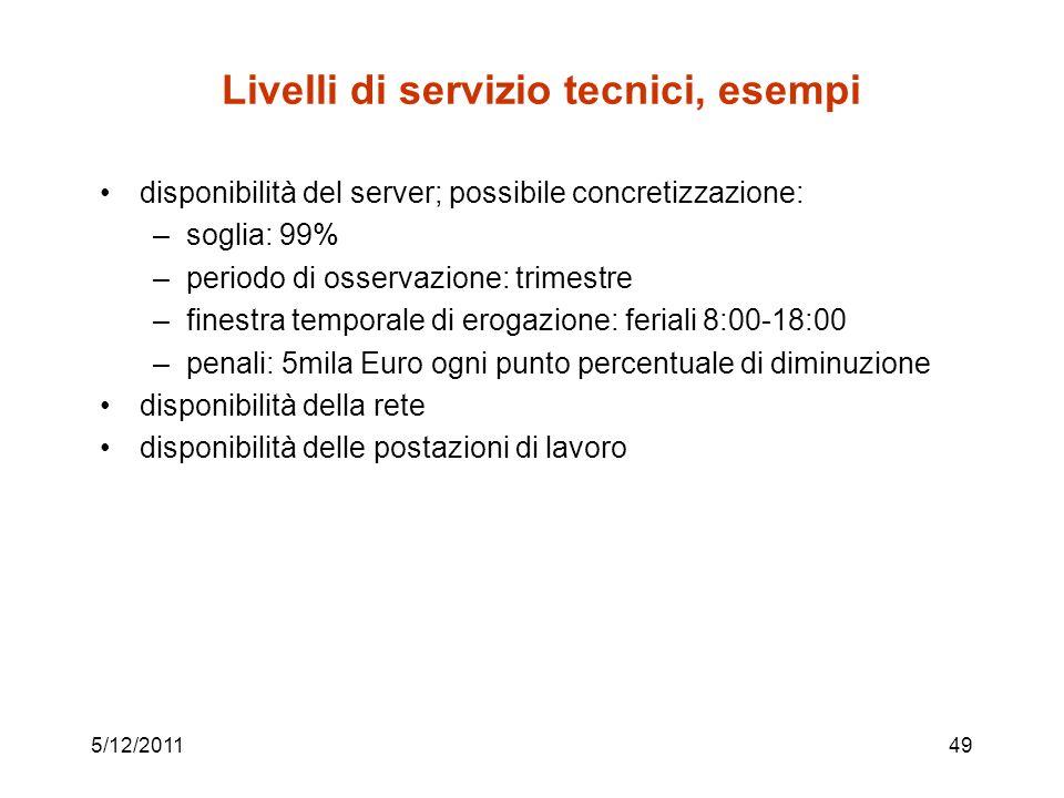 5/12/201149 Livelli di servizio tecnici, esempi disponibilità del server; possibile concretizzazione: –soglia: 99% –periodo di osservazione: trimestre