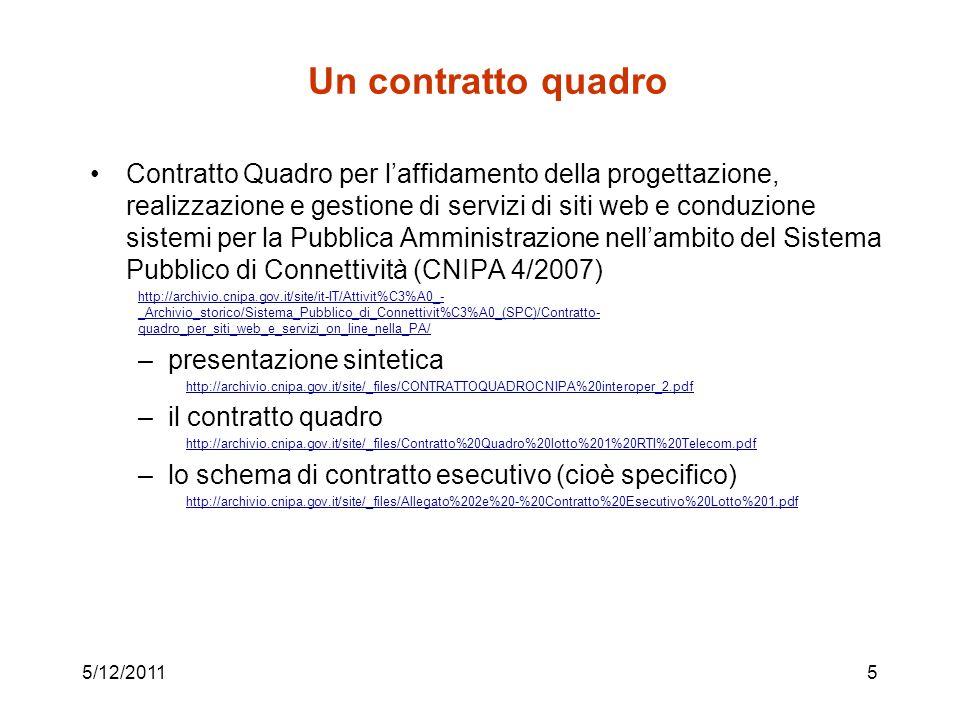 Un contratto quadro Contratto Quadro per laffidamento della progettazione, realizzazione e gestione di servizi di siti web e conduzione sistemi per la Pubblica Amministrazione nellambito del Sistema Pubblico di Connettività (CNIPA 4/2007) http://archivio.cnipa.gov.it/site/it-IT/Attivit%C3%A0_- _Archivio_storico/Sistema_Pubblico_di_Connettivit%C3%A0_(SPC)/Contratto- quadro_per_siti_web_e_servizi_on_line_nella_PA/ –presentazione sintetica http://archivio.cnipa.gov.it/site/_files/CONTRATTOQUADROCNIPA%20interoper_2.pdf –il contratto quadro http://archivio.cnipa.gov.it/site/_files/Contratto%20Quadro%20lotto%201%20RTI%20Telecom.pdf –lo schema di contratto esecutivo (cioè specifico) http://archivio.cnipa.gov.it/site/_files/Allegato%202e%20-%20Contratto%20Esecutivo%20Lotto%201.pdf 5/12/20115