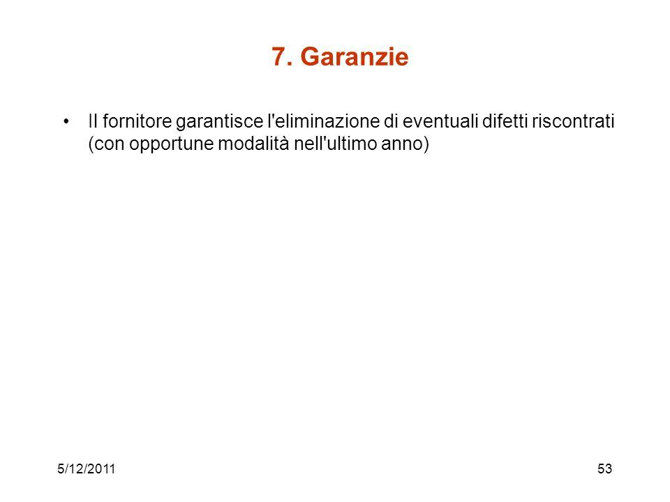 7. Garanzie Il fornitore garantisce l'eliminazione di eventuali difetti riscontrati (con opportune modalità nell'ultimo anno) 5/12/201153