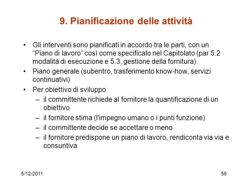 9. Pianificazione delle attività Gli interventi sono pianificati in accordo tra le parti, con un Piano di lavoro così come specificato nel Capitolato