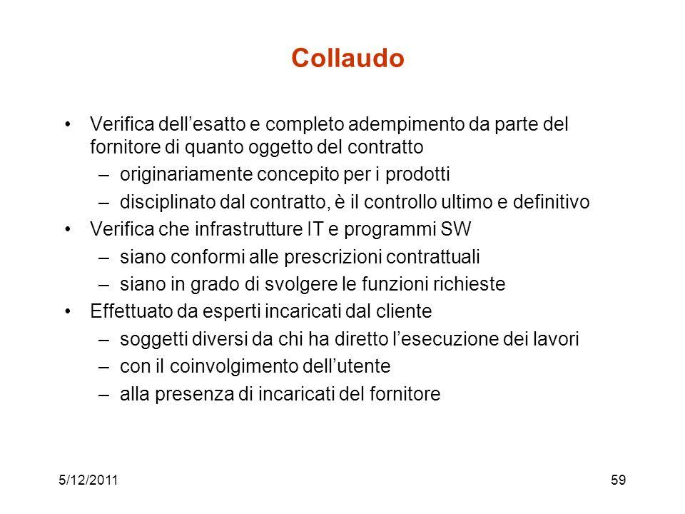 5/12/201159 Collaudo Verifica dellesatto e completo adempimento da parte del fornitore di quanto oggetto del contratto –originariamente concepito per