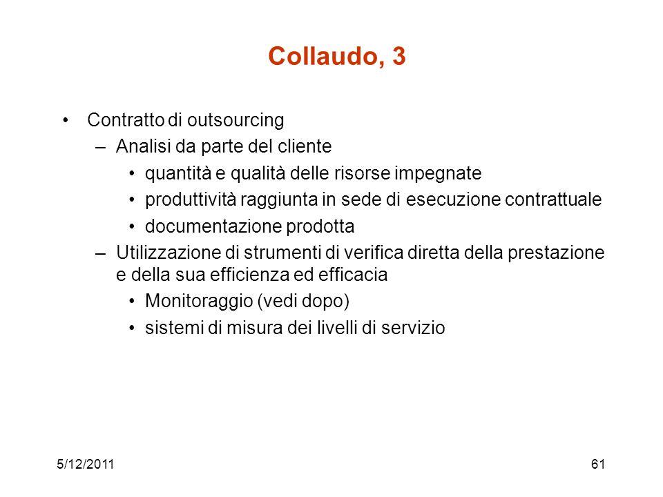 5/12/201161 Collaudo, 3 Contratto di outsourcing –Analisi da parte del cliente quantità e qualità delle risorse impegnate produttività raggiunta in se