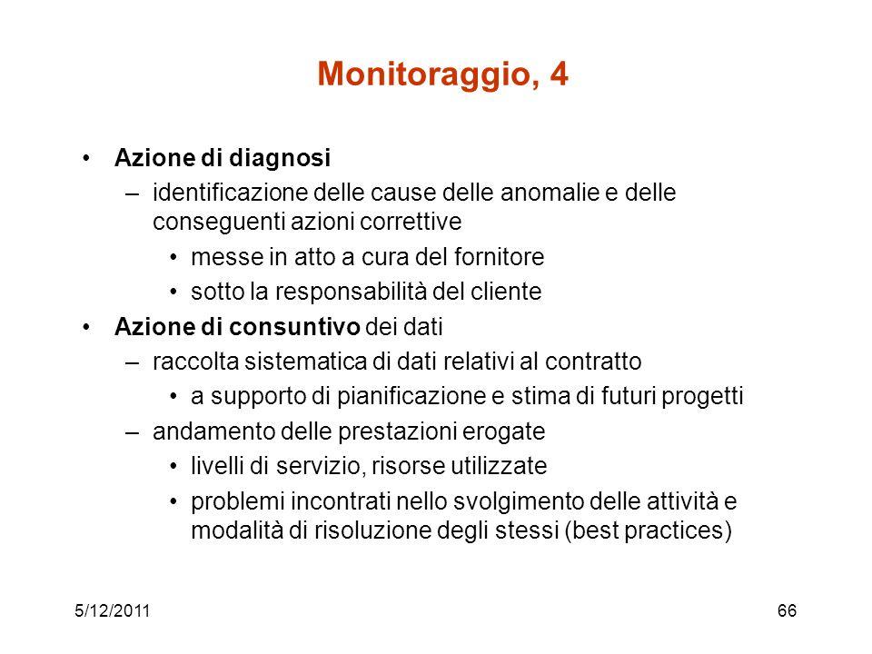 5/12/201166 Monitoraggio, 4 Azione di diagnosi –identificazione delle cause delle anomalie e delle conseguenti azioni correttive messe in atto a cura