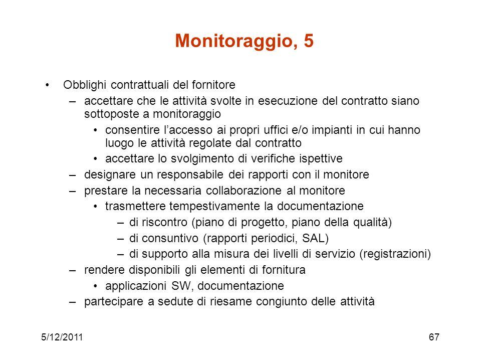5/12/201167 Monitoraggio, 5 Obblighi contrattuali del fornitore –accettare che le attività svolte in esecuzione del contratto siano sottoposte a monit