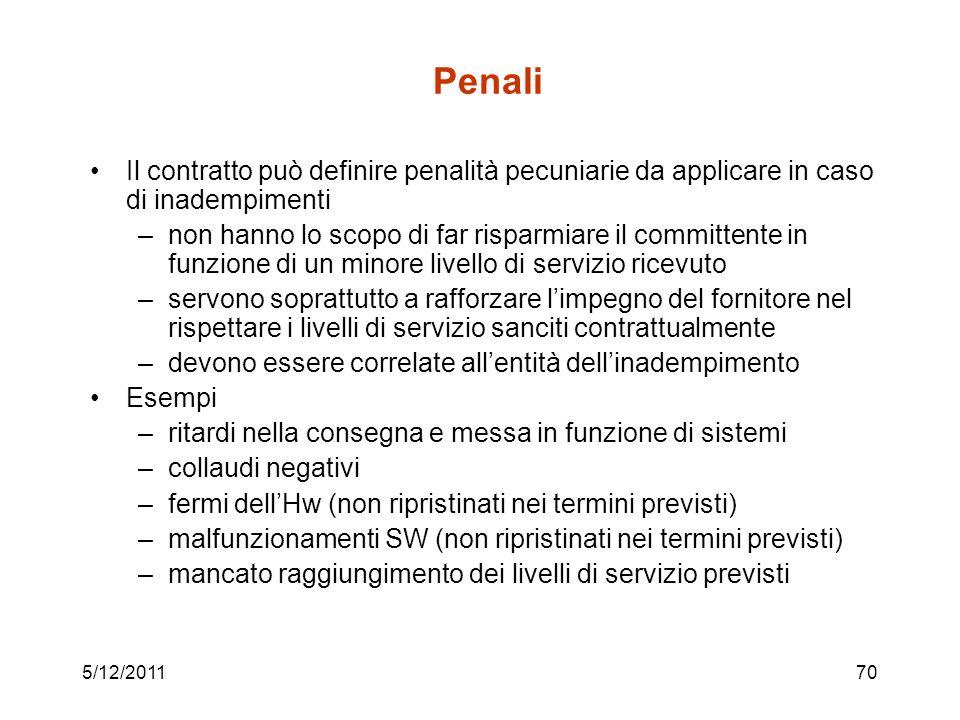 5/12/201170 Penali Il contratto può definire penalità pecuniarie da applicare in caso di inadempimenti –non hanno lo scopo di far risparmiare il commi