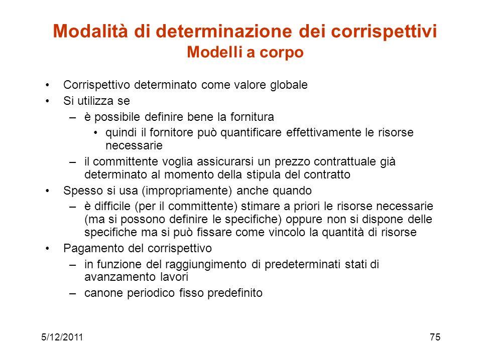 5/12/201175 Modalità di determinazione dei corrispettivi Modelli a corpo Corrispettivo determinato come valore globale Si utilizza se –è possibile def