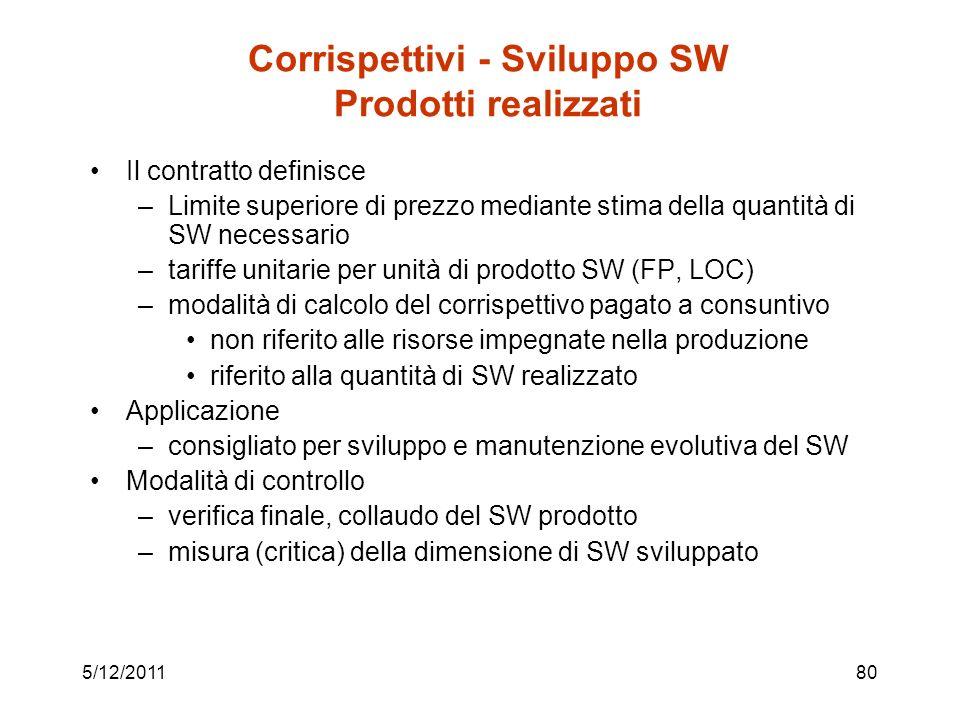 5/12/201180 Corrispettivi - Sviluppo SW Prodotti realizzati Il contratto definisce –Limite superiore di prezzo mediante stima della quantità di SW necessario –tariffe unitarie per unità di prodotto SW (FP, LOC) –modalità di calcolo del corrispettivo pagato a consuntivo non riferito alle risorse impegnate nella produzione riferito alla quantità di SW realizzato Applicazione –consigliato per sviluppo e manutenzione evolutiva del SW Modalità di controllo –verifica finale, collaudo del SW prodotto –misura (critica) della dimensione di SW sviluppato